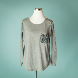 Anthropoloige t la XS Gray Burnout Long Sleeve Tee